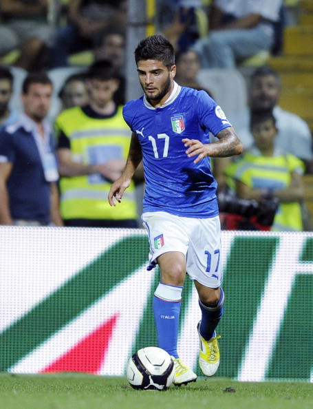 MODENA, ITALY - SEPTEMBER 11: Lorenzo Insigne of Italy kicks the ball during the FIFA 2014 World Cup qualifier match between Italy and Malta on September 11, 2012 in Modena, Italy. (Photo by Claudio Villa/Getty Images)